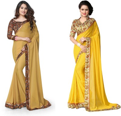 Indianbeauty Self Design, Solid Fashion Chiffon Saree(Pack of 2, Yellow, Beige) at flipkart