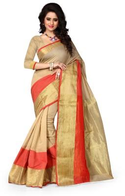 resham fabrics Striped Bandhani Silk Sari