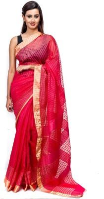 Elite Handicrafts Striped Bhagalpuri Handloom Tussar Silk Sari
