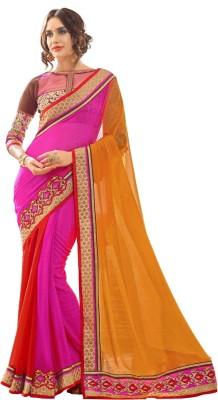 Aagamanfashion Striped Fashion Synthetic Georgette Sari