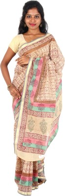 Orchids Floral Print Daily Wear Handloom Cotton Sari