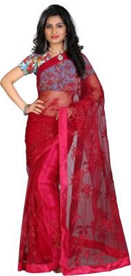STARLIGHT CLUB Embroidered Fashion Net Sari(Maroon)