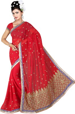 G-Tex Prints Embriodered Fashion Synthetic Georgette Sari