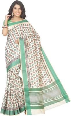 Rani Saahiba Printed Chanderi Art Silk Sari(Green)