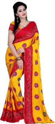 Sangeetasarees Plain Bandhej Handloom Crepe Sari