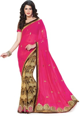 Indianbeauty Printed, Embroidered Bollywood Georgette Sari(Pink, Brown)