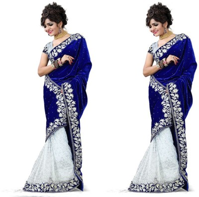 MA Solid Fashion Velvet Sari