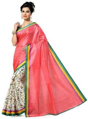 Aks Worldshop Floral Print, Plain Daily Wear Art Silk Sari