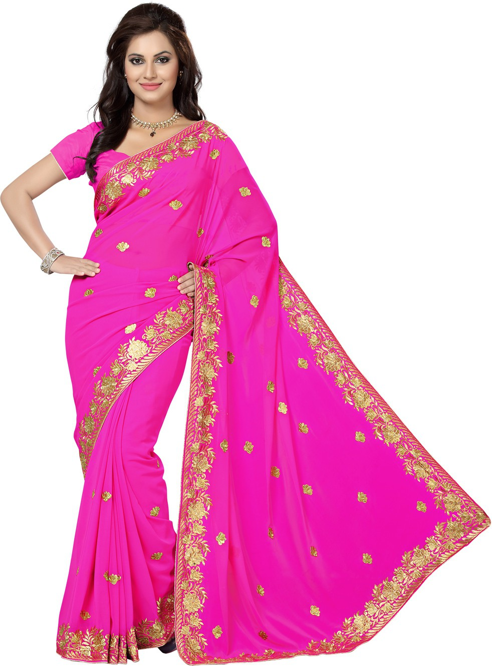 Saree Swarg Embroidered Bollywood Georgette Saree(Pink)