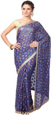 Castle Printed, Self Design Phulkari Chiffon Sari