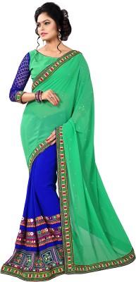 Trishulom Cloth's Online Embriodered Fashion Handloom Georgette Sari