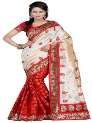Ganghs Embriodered Fashion Chanderi, Tussar Silk Sari