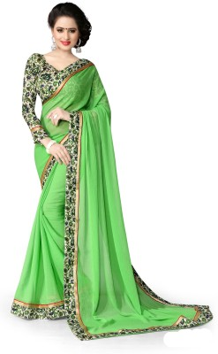 Indianbeauty Self Design, Solid, Printed Fashion Chiffon Saree(Light Green) at flipkart