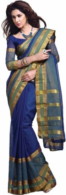 EvaFashion Striped Mangalagiri Cotton Sari