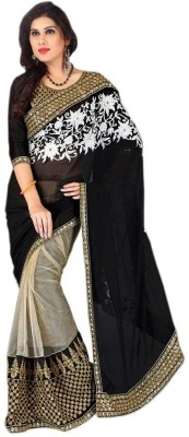 Monu Silk Mills Embriodered Bollywood Pure Georgette, Net Sari