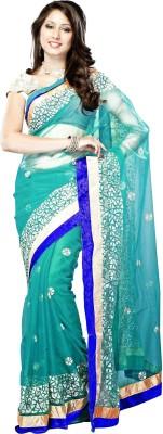 7Diva Embriodered Fashion Net, Velvet Sari