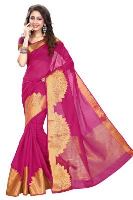 Heavendeal Floral Print Banarasi Silk Cotton Blend Sari