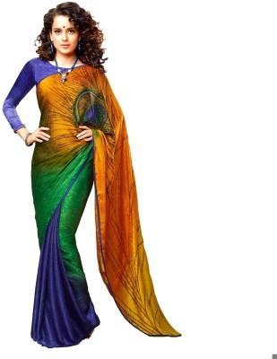 Lime Graphic Print Fashion Handloom Poly Silk Sari