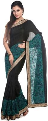 BlackBeauty Embroidered Bollywood Chiffon Saree(Black, Blue) at flipkart