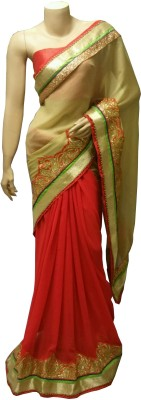 BEAUVILLE VAIIBAVAM Embellished Fashion Georgette, Shimmer Fabric Sari