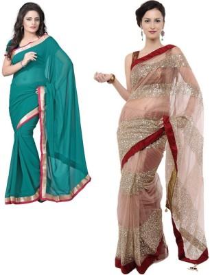 Rockchin Fashions Plain Bollywood Georgette, Net Sari