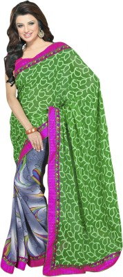 Saara Printed Fashion Jacquard Saree(Grey, Green) at flipkart