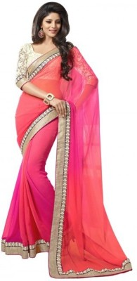 Freshvillaa Embriodered, Printed Bollywood Georgette Sari