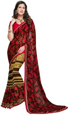 Salwar Studio Floral Print, Striped, Printed Daily Wear Synthetic Georgette Sari