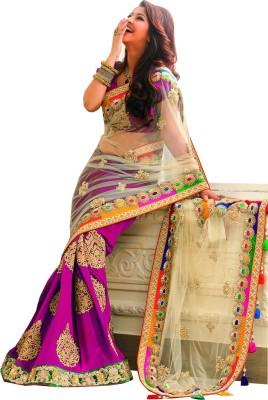 Meshwa Fashion Embriodered Bollywood Handloom Net, Viscose Sari