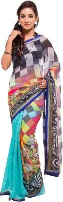 Geisha Self Design Fashion Synthetic Georgette Sari