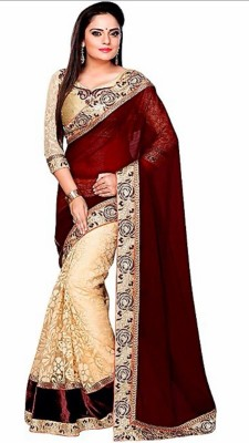 Zeven Fouten Embriodered Bollywood Georgette Sari