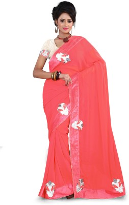 Aanchal Fashion Solid Fashion Chiffon Sari
