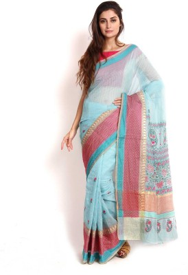Kasturi-B Swadeshi Karigari Embriodered Lucknow Chikankari Kota Cotton Sari