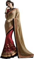 Saree Exotica Embroidered Fashion Net Sari(Red)