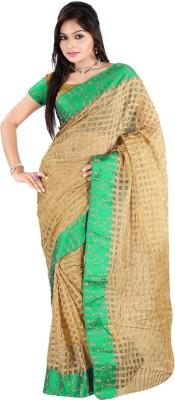 Vastrakala Checkered Banarasi Cotton, Silk Sari