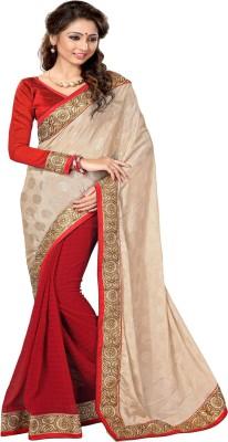 Sourbh Sarees Solid Fashion Jacquard, Chiffon Saree(Beige, Red) at flipkart