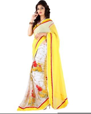 Lime Printed Fashion Handloom Chiffon Sari
