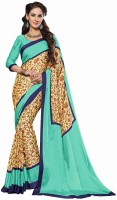 Sudarshan Silks Geometric Print, Self Design Daily Wear Synthetic Crepe Sari(Multicolor)