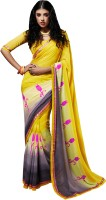 Viva N Diva Printed Fashion Georgette Sari(Yellow, Grey) best price on Flipkart @ Rs. 799