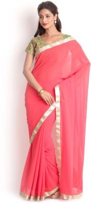 Kasturi-B Swadeshi Karigari Solid Bollywood Handloom Georgette Sari