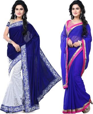 SNV Fashion Embriodered, Embellished Fashion Velvet, Brasso, Chiffon Sari