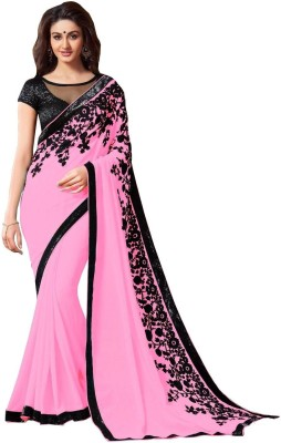 Bollywood Designer Self Design Bollywood Georgette Saree(Pink) at flipkart