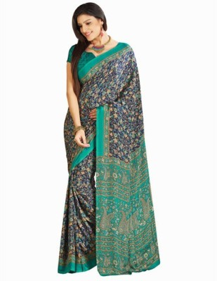 Makekaartz Printed Fashion Crepe Sari