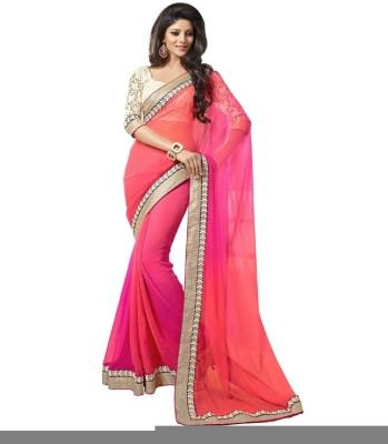 Anglefashion Plain Bollywood Georgette Sari