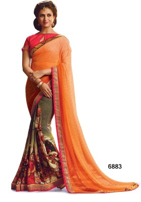 Sarees House Self Design, Printed Bollywood Jacquard, Georgette Sari