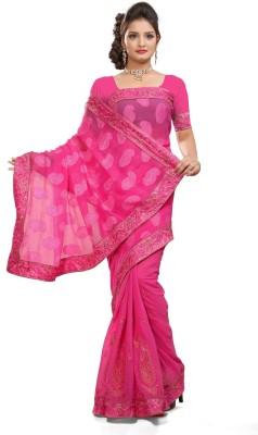 Preeti Solid Bollywood Jacquard, Chiffon Sari