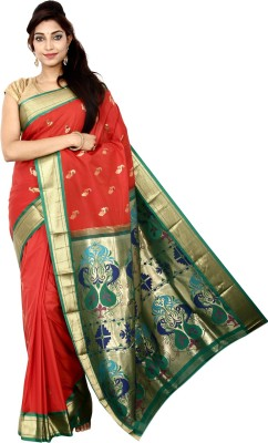 Indian Silks Self Design Paithani Art Silk Sari
