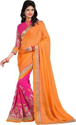 Go4fashion Embriodered Fashion Georgette, Chiffon Sari