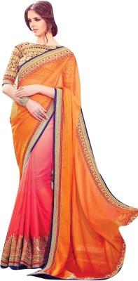 Lajo Solid Fashion Satin, Chiffon Sari