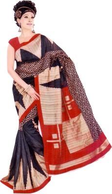 Raj Creative Geometric Print Bhagalpuri Silk Sari